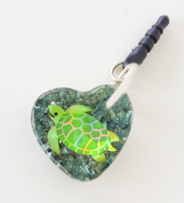 Turtle heart orgonite cell phone Audio Jack EMF/EMR Protection Shield. Orgone for children. Orgonite for kids