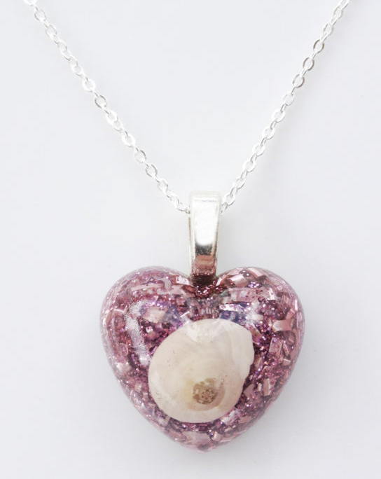 Pink Heart Shell Powerful Enhanced Orgonite Necklace Pendant Jewelry Orgone Amulet